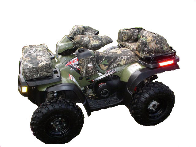 Custom fitted atv seat cover on a 4 wheeler